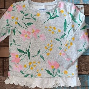 Old Navy, Girls' Floral Sweatshirt W/Lace, Size 5
